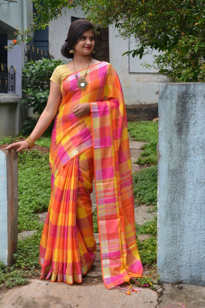 Linen Saree with Bright Sunny Checks -LNSRE062 Orange and pink partywear saree