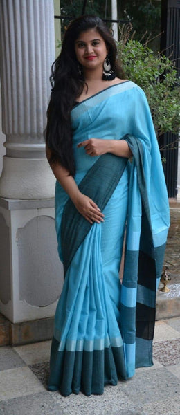 Cyan Magic with Black Linen Saree LNL001 Blue coloured saree for daily use