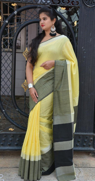 Daint Daffodil Linen Saree LNL002 Yellow and black coloured regularwear saree