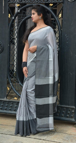 Silver Style with Black Linen Saree LNL004 Grey and black coloured trendy saree