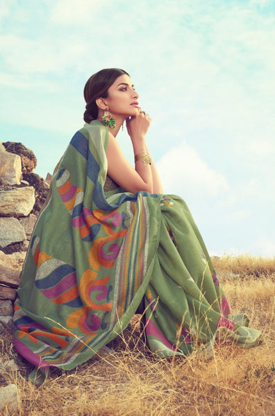 Graceful Green Linen Saree (Blend) - LNSR2001