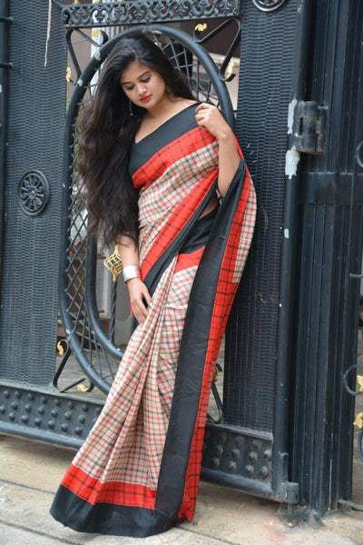 Beige Babe Linen Saree with checks- LNL026 Lightweight brown coloured saree with red black borders