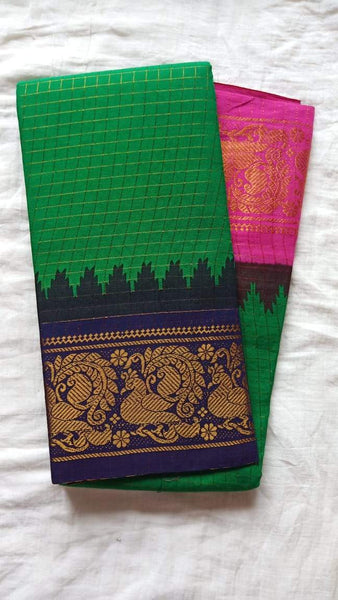 Madurai Checkered Sungudi Saree Ganga Jamuna Border GJB 020