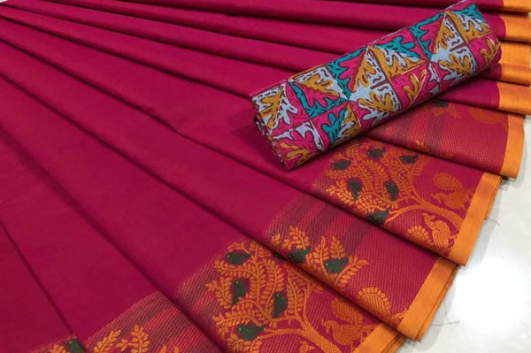 Magenta  Pure Cotton Saree CPC 001