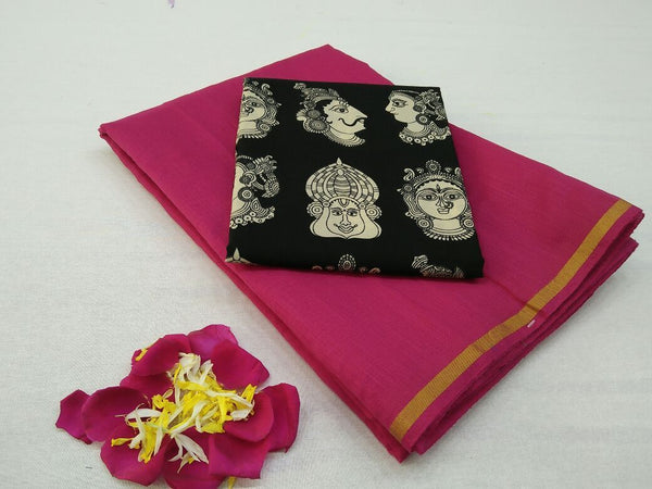 Magenta with Face Designed Blouse Fancy Cotton Saree-SRE-759