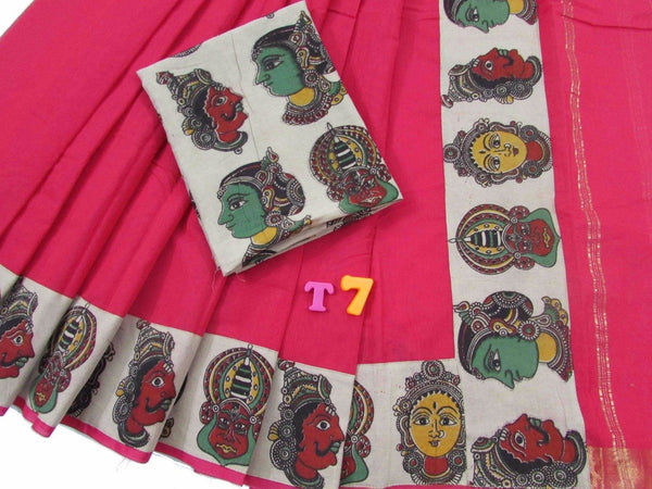 Magenta with Kalamkari Blouse Mercerized Silk Cotton Saree-SRE-771