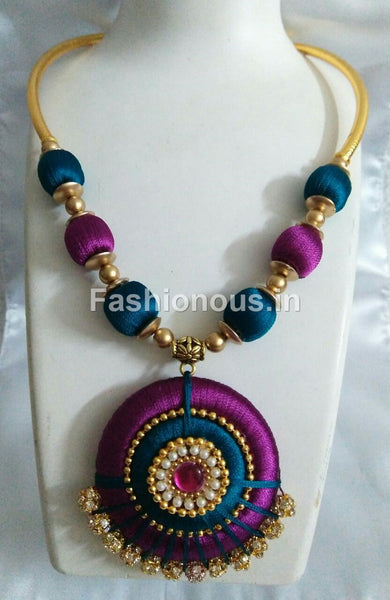 Majentha and Green Silk Thread Necklace