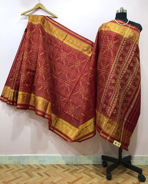 Maroon Alpana Designed with Golden Border Patola Silk Saree-PPSRE-011