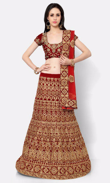 Maroon Embroidered Bridal Lehenga