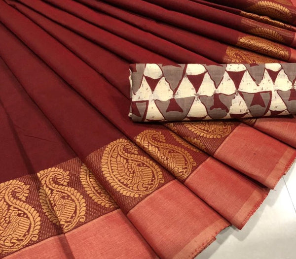 Maroon Cotton Saree with Mango Motif Border