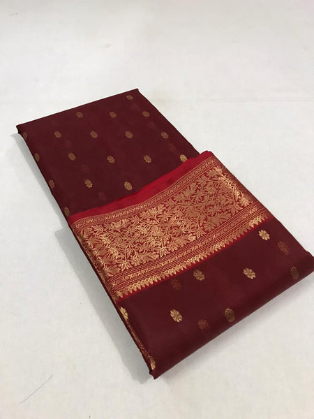 Maroon Pure Katan Chanderi Silk Saree with Red Border