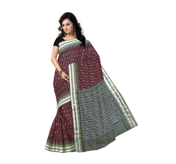 Maroon With Grey Alpana Designed Pure Handwoven Cotton Saree-OSS9065