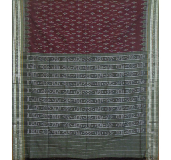 Maroon With Grey Alpana Designed Pure Handwoven Cotton Saree