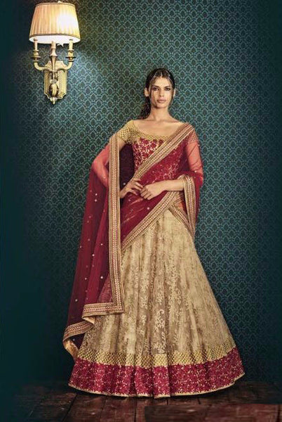 Maroon and Golden Embroidered Bridal Lehenga