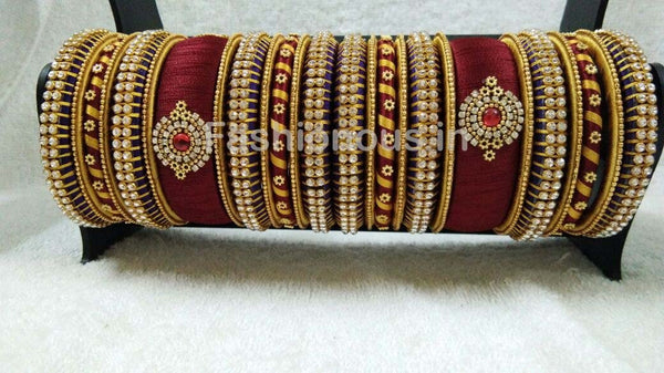 Maroon and Golden Floral Stone Worked Silk Thread Bangle Set-STJSW-048