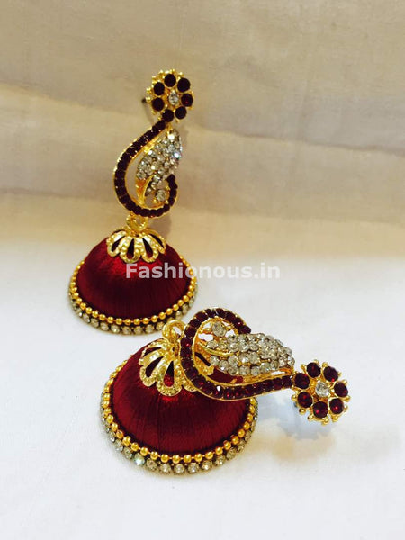 Maroon and White Stone Studded Peacock Neck Floral Silk Thread Jhumkas-STJH-049
