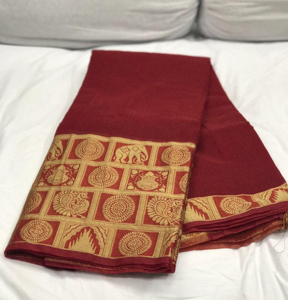 Maroon with Beautiful Zari and Checked Pallu Kotta Silk Saree-SRE-382