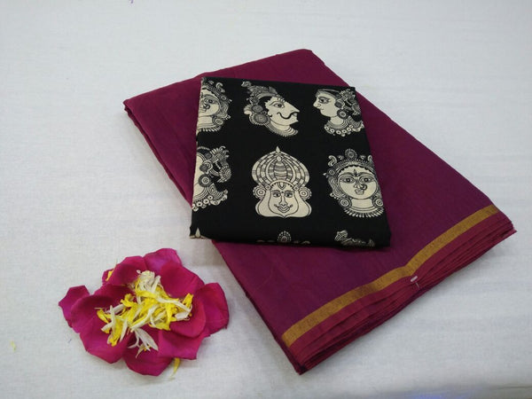 Maroon with Face Designed Blouse Fancy Cotton Saree-SRE-751