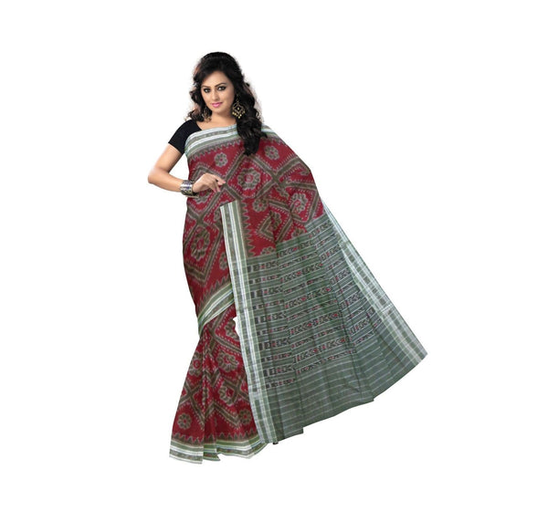 Maroon with Floral Pure Handwoven Cotton Saree-OSS9073
