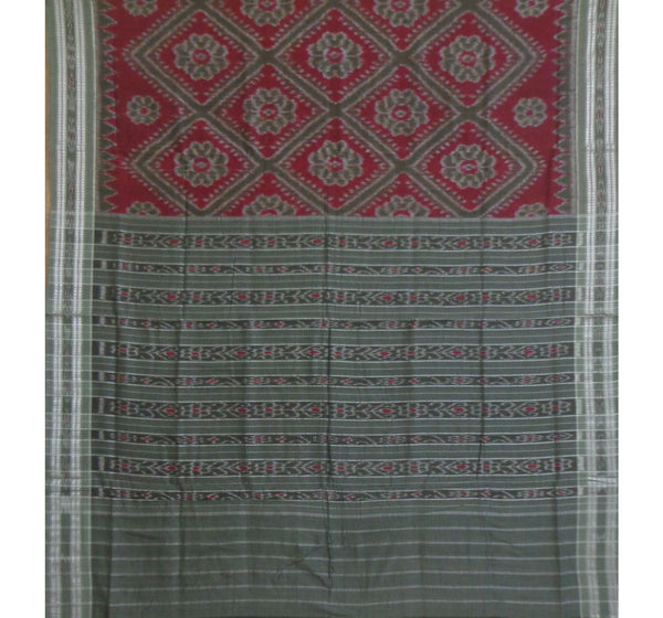 Maroon with Floral Pure Handwoven Cotton Saree