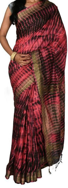 Maroon with Golden Border Linen Saree-LNSRE-047