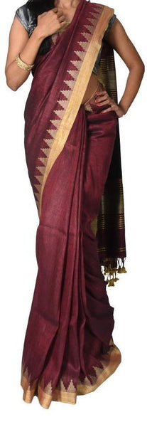 Maroon with Golden Gopuram Border Linen Saree-LNSRE-050