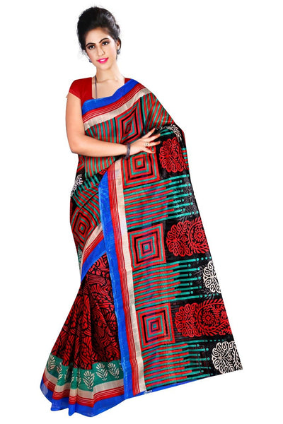 Maroon with Square Designed Pallu Bhagalpuri Saree-SRE-803