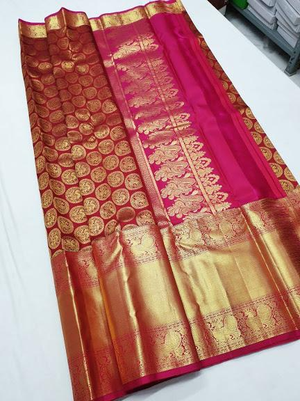 Maroon with Gold border Kanchipuram Bridal Silk Saree BCKS 003