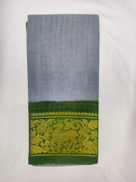 Madurai Sungudi Saree with Double side Jari Border - MSS021