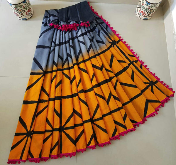 Metal Blue and Yellow Jaipuri Cotton Saree
