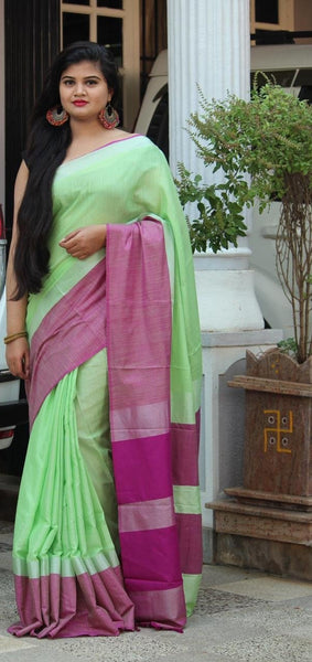 Mild Green Linen Saree with Pink Border-LN207