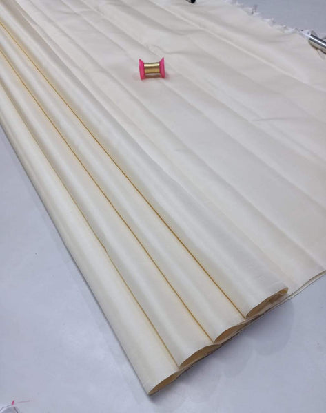 Milky White Pure Silk Saree