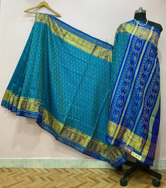 Blue Floral Designed with Golden Border Patola Silk Saree-PPSRE-012