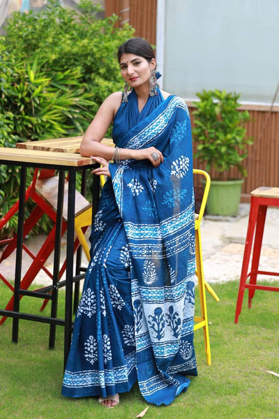 HandBlock Printed Mulmul Cotton Saree - BHBLP010