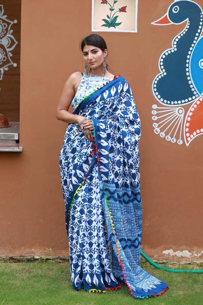 HandBlock Printed Mulmul Cotton Saree - BHBLP009