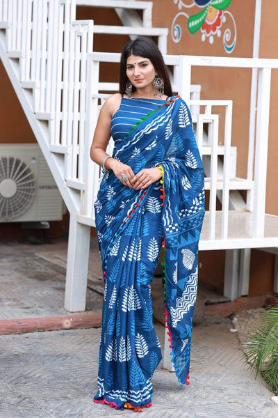 HandBlock Printed Mulmul Cotton Saree - BHBLP008