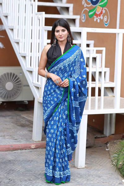 HandBlock Printed Mulmul Cotton Saree - BHBLP007