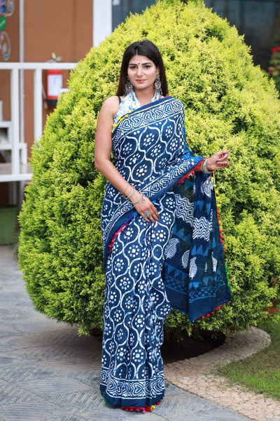HandBlock Printed Mulmul Cotton Saree - BHBLP006
