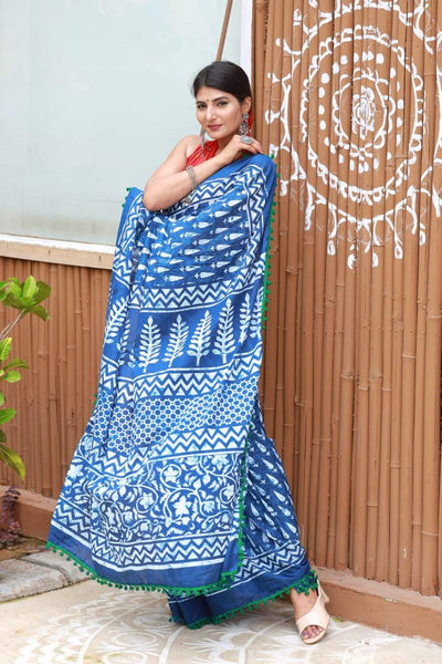 HandBlock Printed Mulmul Cotton Saree - BHBLP004