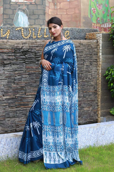 HandBlock Printed Mulmul Cotton Saree - BHBLP003