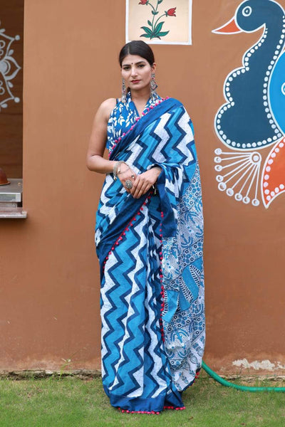 HandBlock Printed Mulmul Cotton Saree - BHBLP002