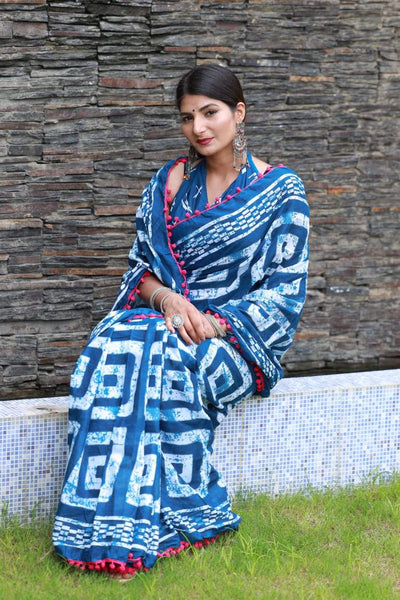 HandBlock Printed Mulmul Cotton Saree - BHBLP001