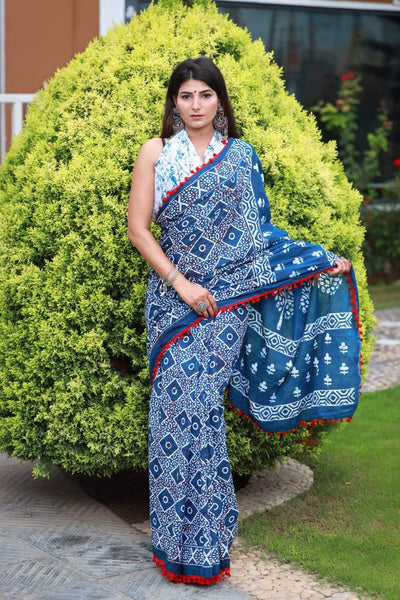 HandBlock Printed Mulmul Cotton Saree - BHBLP005
