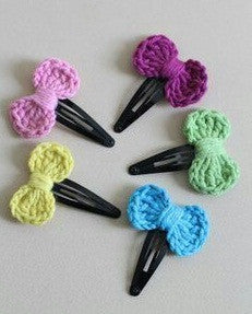 Colorful  Bow Crochet Hair Clips