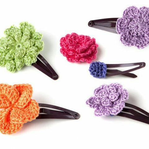 Colorful Floral Crochet Hair Clips