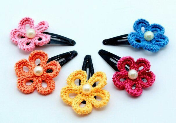 Colorful Floral Crochet Hair Clips with White Beads