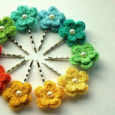 Colorful Floral Crochet Hair Pins with White Beads