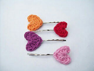 Colorful Heart Design Crochet Hair Pins