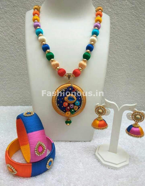 Multicolor Silk Balls with Silk Peacock Pendant Silk Thread Jewellery Set-STJS-035