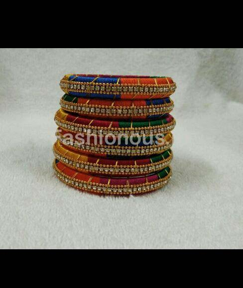 Multicolor Stone Worked Silk Thread Bangle Set-STJSW-035